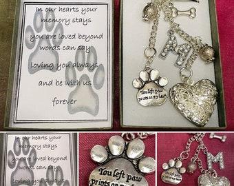 IN Loving Memory Pet Dog Family Initial Alphabet Heart Locket Paw Bone Keepsake Key Ring Charm Memorial Gift Box Poem