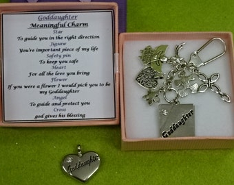 Meaningful Keepsake For Goddaughter Any Occasion  key ring Charm Gift Box Rhymes Cross Angel Heart Square Or Heart Charm