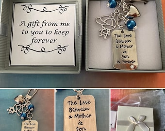 The love between a MOTHER and SON is forever keepsake key ring charm with heart and boy style charm gift boxed for any occasion birthday etc