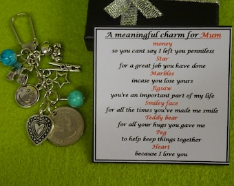 Meaningful Keepsake For Dad or Mum key ring Charm Gift Box Rhymes Birthday Christmas Fathers day Mothers day Teddy Bear Heart Smiley Face
