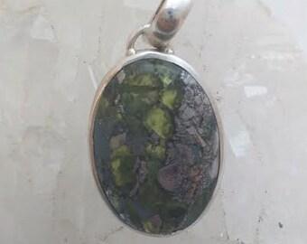 Stunning Peridot Pyrite Fusion Pendant 925 Sterling Silver Reiki Chakras Gemstone Healing
