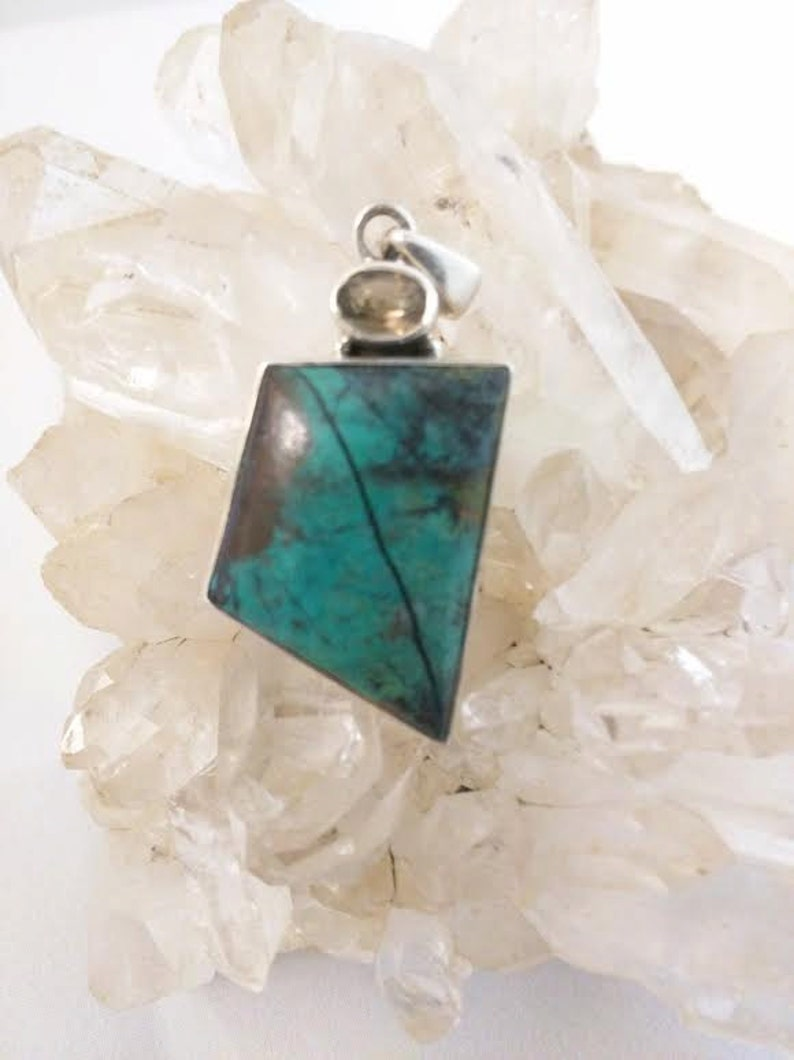 Rare Sonora Sunset Pendant w Citrine Large Sterling Silver Chrysocolla Cuprite Sunrise Gemstone Natural Stone Jewelry Necklace Mineral Rock