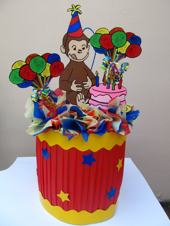 Surprising Curious George With Birthday Cake Balloons Handmade Pinata Etsy Personalised Birthday Cards Paralily Jamesorg
