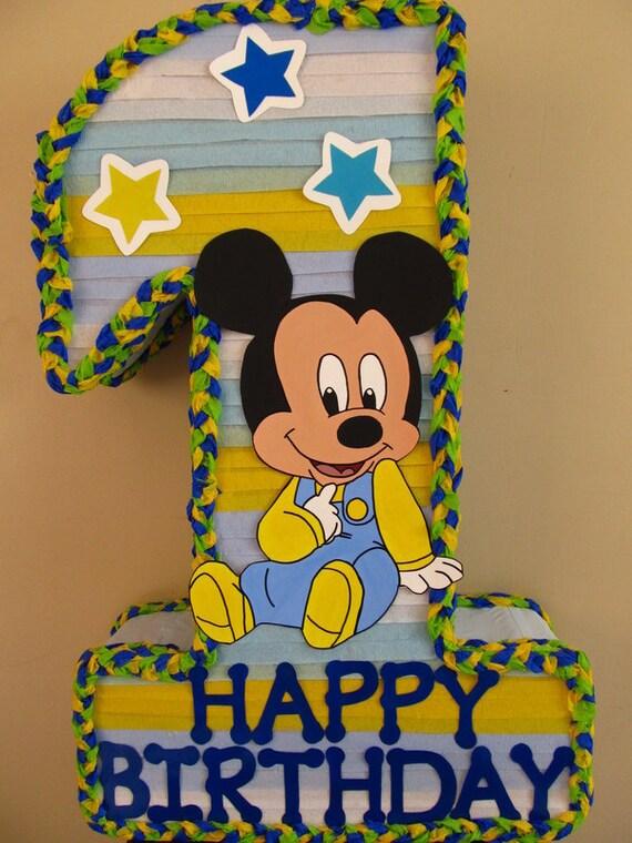 Enjoyable Baby Mickey 1St Birthday 1 Shape Pinata Etsy Funny Birthday Cards Online Fluifree Goldxyz