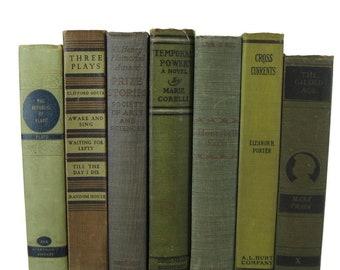 Green Vintage Books ,  Antique Decorative Books , Wedding Prop , Photo Prop , Green Vintage Books , Old Books