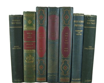Green Vintage Books for  Farmhouse Rustic Decor, Apartment Decorating,  Book Lover