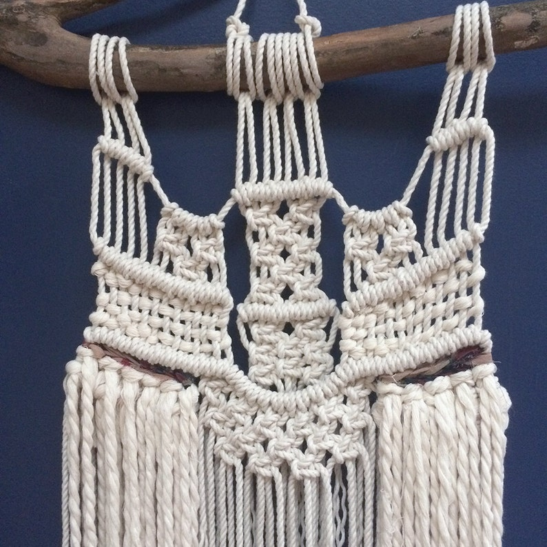 Sale Neutral Macramé Wall Hanging With Thick Fringe Macramé Etsy