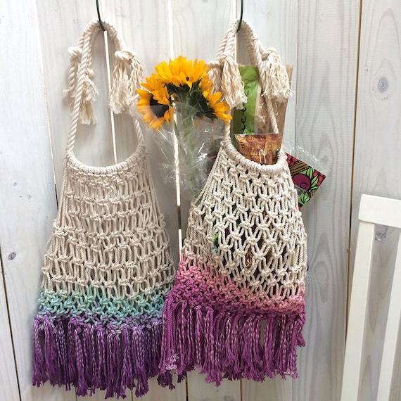 Macrame Bag Cotton Reusable Shopping Bag Housewarming Gift Ombre Purple Turquoise Eco-Friendly Macrame Bag Sustainable Shopping Bag