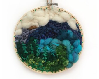 Large Upcycled Circular Woven Wall Hanging, 8-Inch Blue Ridge Mountains Round Woven Wall Hanging, Circular Woven Wall, Woven Round Tapestry