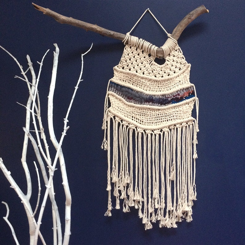 Sale Macramé Woven Wall Hanging With Fringe Macramé Wall Etsy