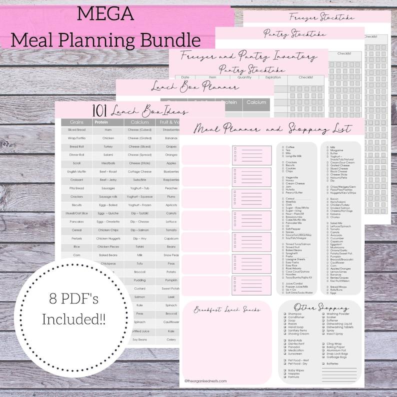 MEGA Meal Planning Bundle Meal Planner  Shopping List  image 1