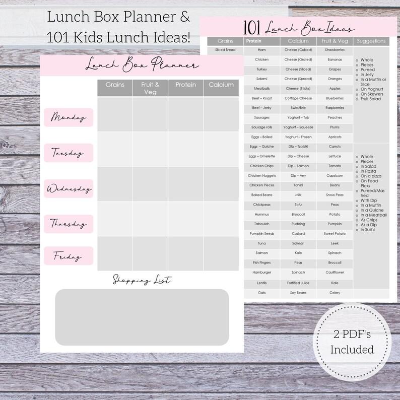 School Lunch Planner  Lunch Box Planner  101 Kids Lunch image 0