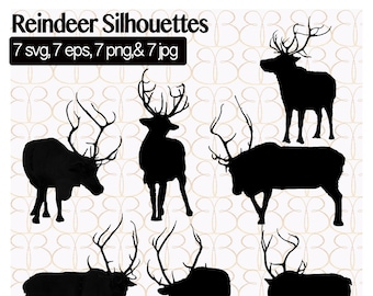 Reindeer Silhouettes Vector Clipart {7}