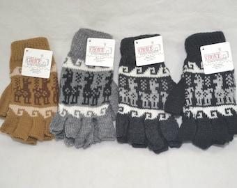 Alpaca Fingerless Gloves - Inca Patterned