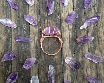 Amplified Raw Amethyst Ring