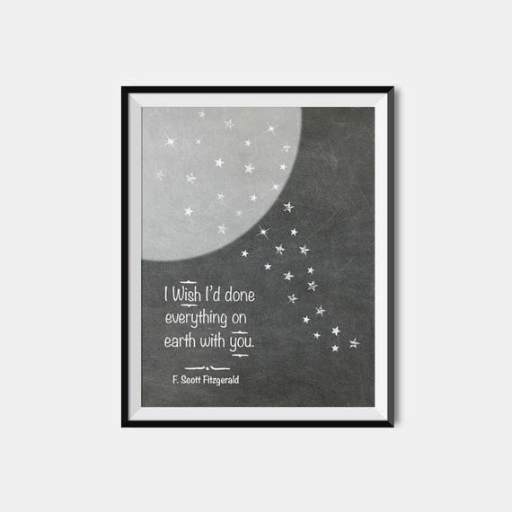 F Scott Fitzgerald Impression Great Gatsby Amour Citation Littéraire Art Mural Premier Anniversaire Papier Saint Valentin Jet D Encre