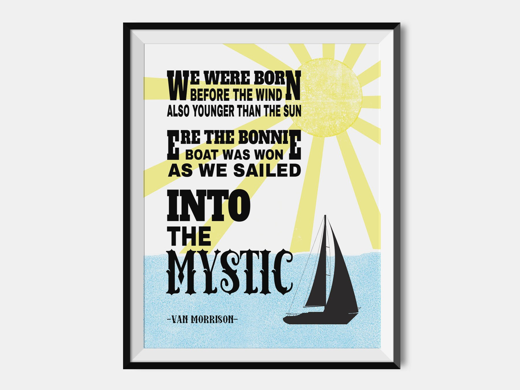 van morrison print into the mystic lyric poster. Black Bedroom Furniture Sets. Home Design Ideas
