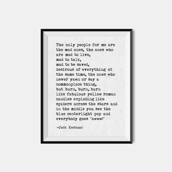 Jack Kerouac Print On The Road Literary Quote Typewriter Wall Art Giclee