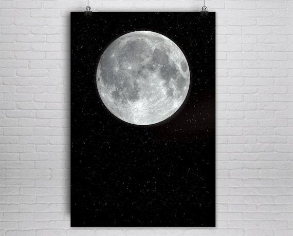 Large Moon Print / Full Moon Poster / Celestial Wall Art / | Etsy