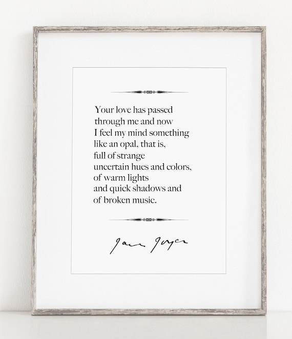 James Joyce Quote Literary Print Love Poem 1st Anniversary Paper 2nd Anniversary Cotton Black And White Giclee