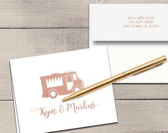Food Truck Letterpress Foil Thank You Cards & Envelopes - Correspondence Cards - Custom Stationery Note Cards