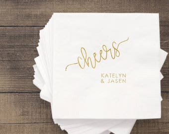 Cheers Wedding Napkins | Customizable Engagement Bridal Parties or Shower | social graces and Co