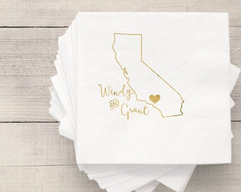 California Wedding Napkins | Personalized Napkin | Hot Stamped Foil