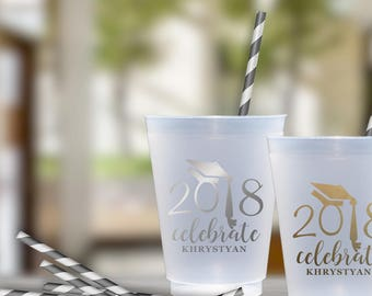 Graduation Party Cups | Personalized Frosted Cup | Monogrammed Cups | Personalized Plastic Cups | Class of 2018 Cups | social graces Co.