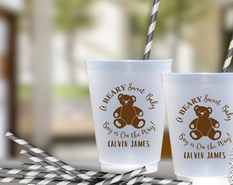 Teddy Bear Baby Shower Party Cups | social graces Co.