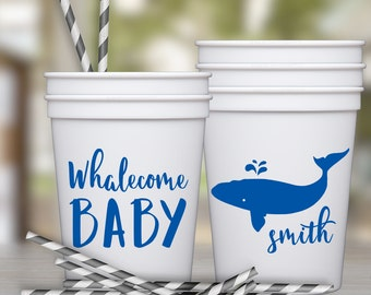 Whale Baby Shower Party Favor Cups | social graces and Co.
