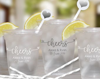 Cheers Wedding Cups | Customizable Disposable Soft Plastic Cups | Weddings, Engagement Bridal Parties or Shower | social graces and Co