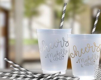 Personalized Cheers Wedding Party Cups