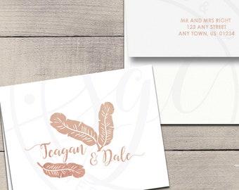 Tropical Banana Leaf Letterpress Foil Thank You Cards & Envelopes - Correspondence Cards - Custom Stationery Note Cards