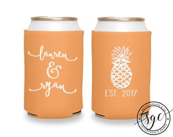 Can Coolers | Personalized Can Coolies | Monogram Beer Sleeves | Wedding Drink Holder | Pineapple Party Favors & Gifts