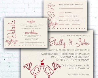 Love Birds Wedding Invitation Set, Perfect Pair Wedding Invitation, Cute Wedding Invitation, Printable Invitation