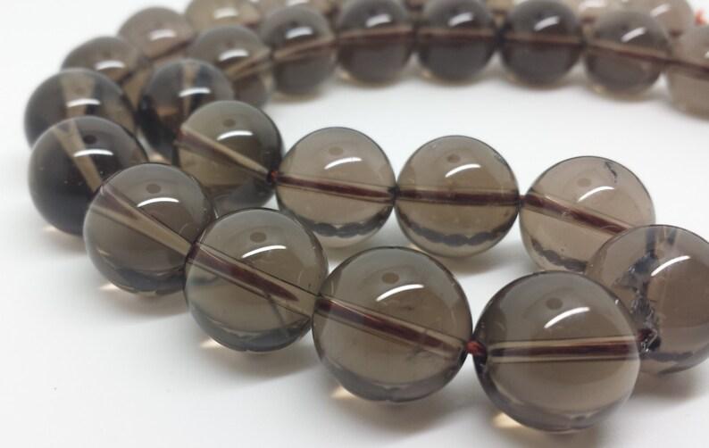 Smokey Quartz Orb Beads 12 strand