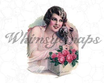 Beautiful Woman with Phone and Roses Vintage DIGITAL IMAGE Download, .png and .jpeg, transfer for fabric, burlap, collages and more