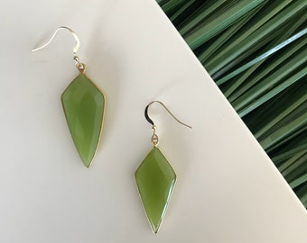 "The ""Limelight"" geometric green earring on 14k gold filled findings"