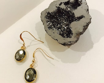 Gold bezeled pyrite earrings on 14k gold filled findings