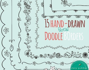 doodle borders and frames hand drawn borders for scrapbook etsy