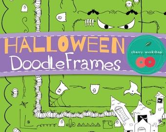 Halloween Doodle Borders / Frames {Cute Borders for Your HALLOWEEN designs} 24 borders (12 designs in 2 fills each)