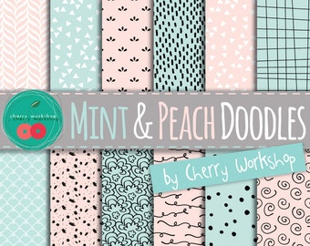 """Valentines Day Digital Paper - Mint and Peach Digital Paper """"Mint and Peach Doodles"""" Spring Digital Paper, Peach and Mint, Doodle Background"""