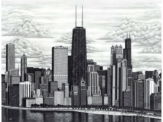 Chicago skyline drawing direct from artist 18x24 inch ...