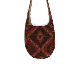 Hobo Bag Purse, Slouchy Purse, Gift for Her, Upholstery Fabric Purse, Large Hobo Bag, Hippie Bag, Vegan Purse