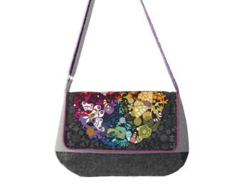 Messenger Purse for Her, Fabric Messenger Bag, Vegan Purse, Crossbody Bag, Cross Body Purse, Purple and Gray Bag