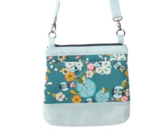Crossbody Purse, Sling Bag. Canvas Cross Body Bag, Blue Floral Purse, Zipper Handbag, Boho Shoulder Bag, Vegan Purse, Floral Gift for Her