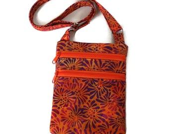 a7fd3566cc Small Orange Crossbody Zipper Purse - Orange and Purple Batik Fabric Cellphone  Bag for Women