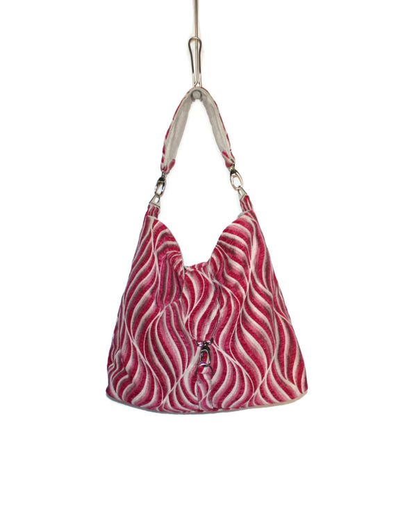 11e0f0c4d098 Slouchy Hobo Bag Hot Pink Hobo Bag Upholstery Fabric Hobo
