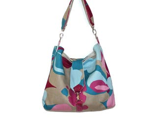 Slouchy Hobo Purse, Fabric Hobo Bag, Hobo Bag Purse, Floral Purse, Gift for Her, Mother's Day Gift, Floral Handbag