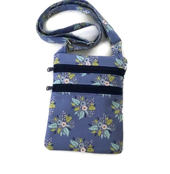 ff2eebc33d8e Blue Crossbody bag with Floral Fabric Pretty Flowers Zipper